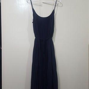 maxi midi pleated chiffon dress